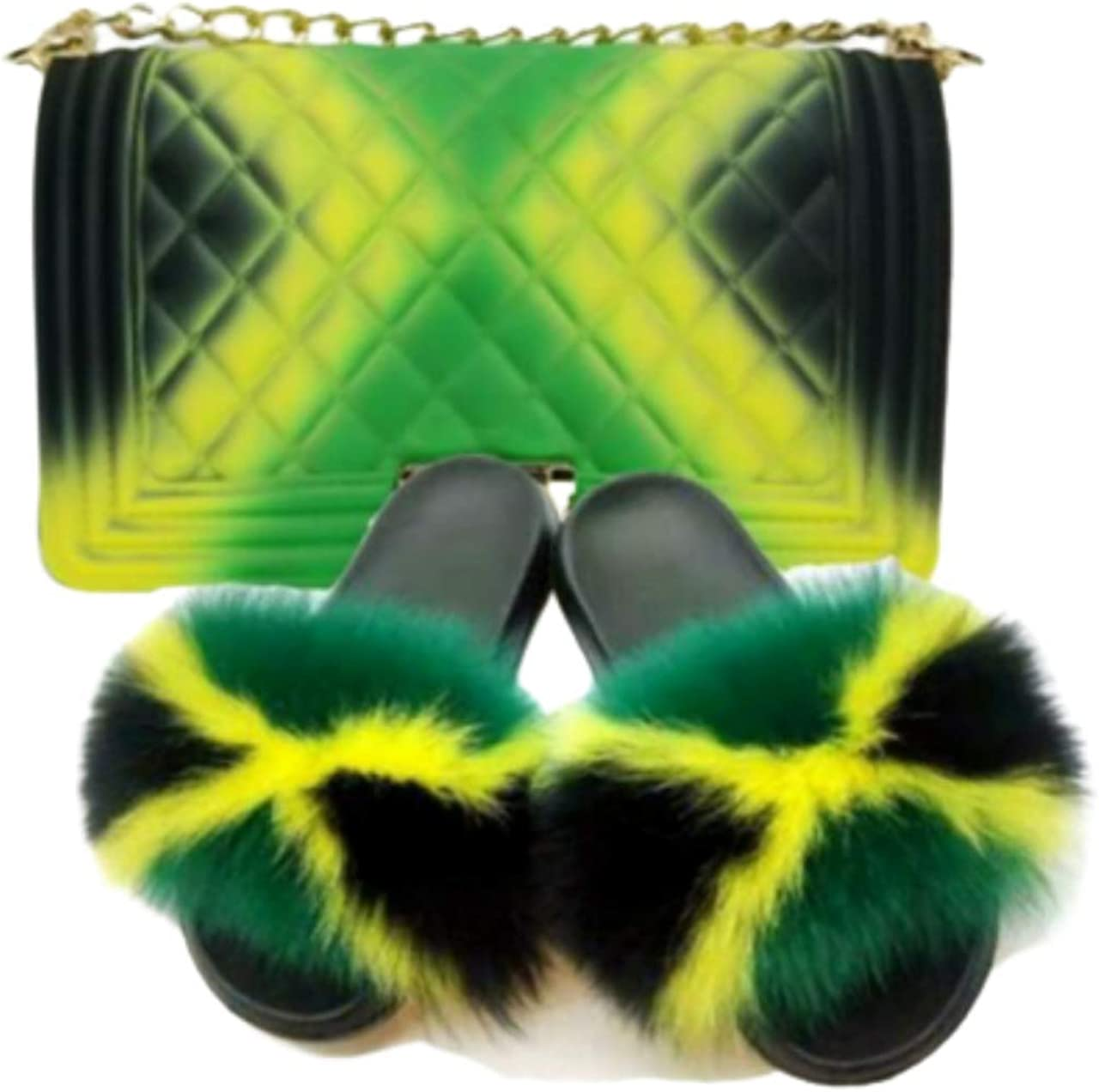Jamaica Flag Soft Flat Indoor-Outdoor W Fuzzy Baltimore Mall Sandals Slides Fur Fixed price for sale