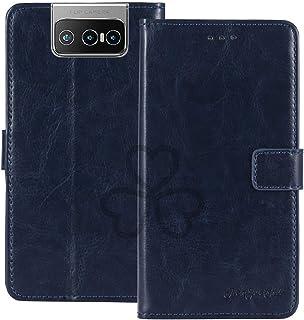 TienJueShi Dark Blue Book Stand Retro Flip Leather Protector Phone TPU Silicone Case For Asus Zenfone 7 Pro ZS671KS 6.67 i...