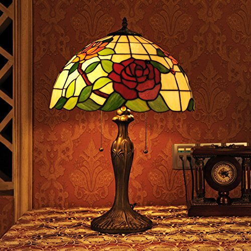 Gweat Tiffany 16 Pouces Style Pastoral Stained Glass Rose Série Lampe De Table Chambre Lumière