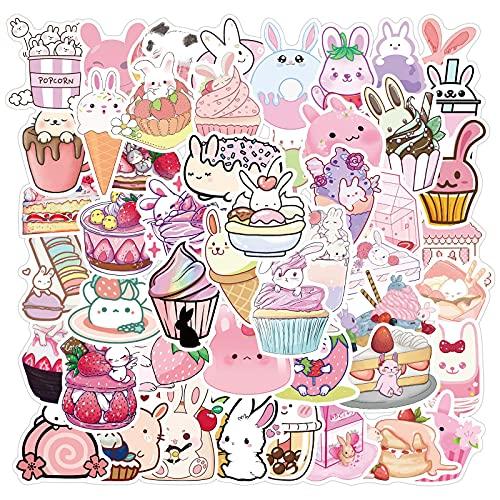 YOUKU Lindas Pegatinas de Dibujos Animados de Conejo de Postre Rosa, decoración, Maleta, Nevera, Taza de Agua, Pegatinas de Graffiti a Prueba de Agua, 50 Hojas