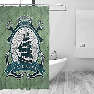 Gloria Johnson Nautical Extra Long Shower Curtain Stars and Ship Silhouette Tropical Shower Curtain W62 x L72 Inch