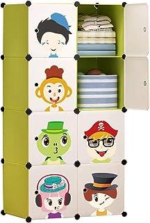 Teapots Liuyu Garde-robe pour enfant avec porte coulissante Motif dessin animé Vert