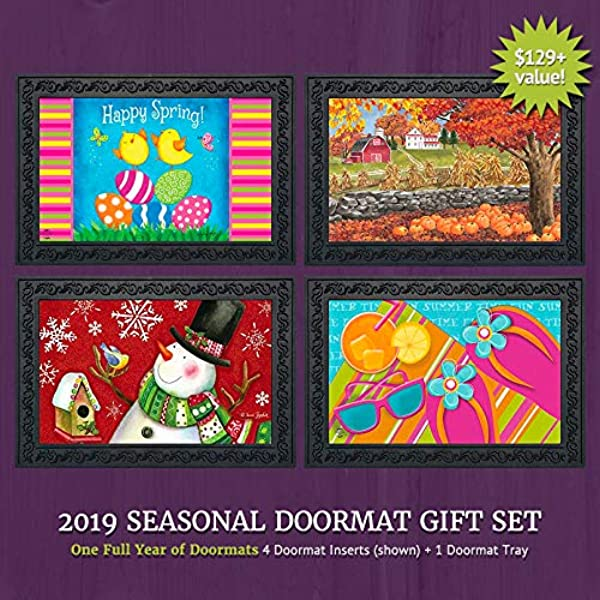 Briarwood Lane Seasonal Doormat Gift Set 4 Inserts And Rubber Mat Tray
