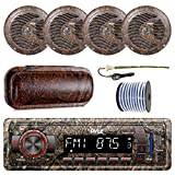 PyleMarine Single-DIN Bluetooth MP3 USB AUX Camo AM/FM Radio, 4X Pyle 6.5'' Waterproof Camo Speakers, Stereo Shield Cover, Enrock Camouflage Boat Antenna, 18-G 50 Ft Wire