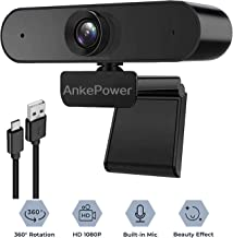 Webcam with Microphone,1080P HD Webcam Desktop or Laptop, Streaming Webcam for Computer Widescreen Video Calling and Recording, USB Web Camera Built-in Mic, Flexible Rotatable Clip, Plug and Play