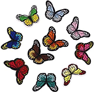 Bullidea 10Pcs Clothes Patches Iron-on or Sew-on Butterfly Embroidered Patches Applique Badges Dress Jacket Shirt Jeans Ha...