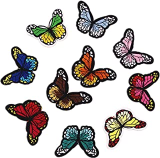 Bullidea 10Pcs Clothes Patches Iron-on or Sew-on Butterfly Embroidered Patches Applique Badges Dress Jacket Shirt Jeans Hat Bag DIY Decor