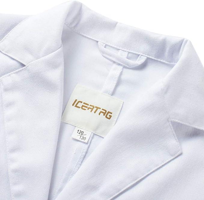 Icertag Bata de Laboratorio Enfermera Sanitaria de Trabajo Blanca con Manga Larga para Hombre, Blanco