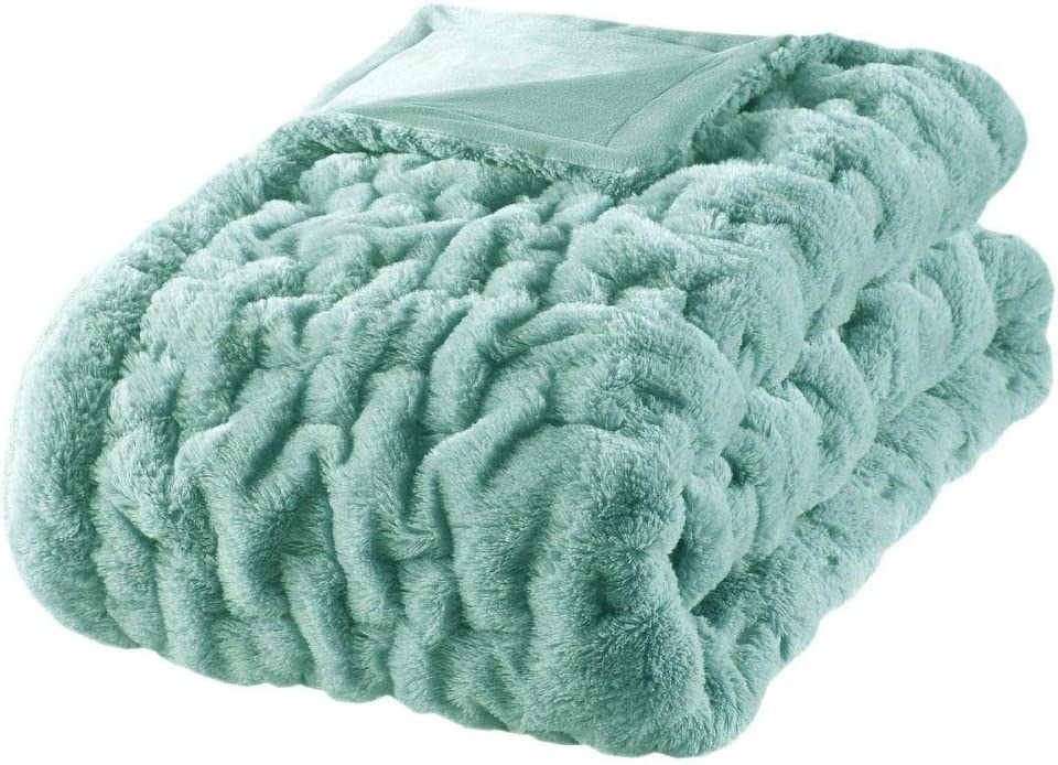 1 Piece Genuine Free Shipping Farmhouse Blue Aqua Throw Solid C Sophisticated Manufacturer OFFicial shop Blanket