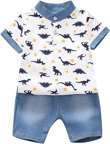 Fossen Ropa Bebe Niño Verano 2021 - Camiseta Manga Corta de Estampado de sandía Oso y Vaqueros Corto para 0-24 Meses Recien Nacido Bebé - Conjunto de ...
