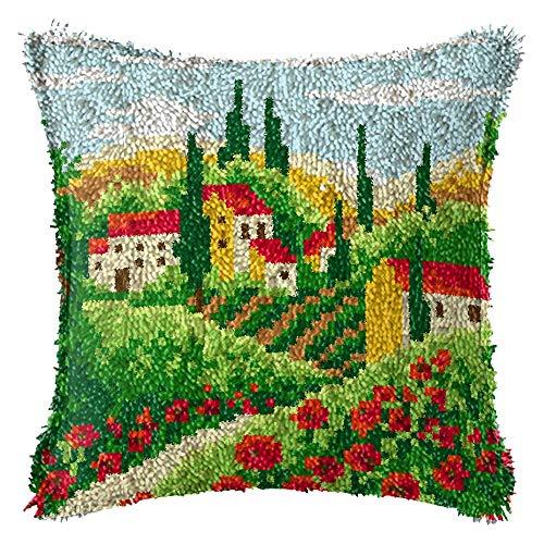 ZUSFUL Kit Gancio del Fermo Hooking Tappeto Kit Federa Divano Cuscino DIY Ricamo Kit Sofa Home Decor per Adulti Principianti,C1