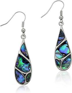 PammyJ Silvertone Abalone Swirl Teardrop Shell Earrings For Women