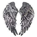 Millya - Parche para planchar de alas de lentejuelas bordadas, parche de costura, emblema, hazlo tú misma, parche artesanal para la decoración de la ropa,1 par, plata, plateado, talla única