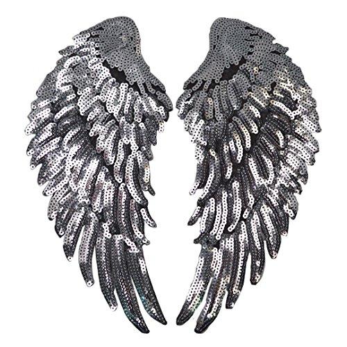 Parche para planchar de alas bordadas con lentejuelas para ropa, decoración, 1 par, plateado, plateado, talla única