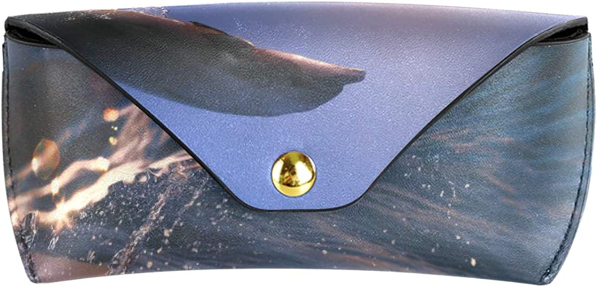 PU Leather Dolphin Jump From Sea Wave School Portable Sunglasses Case Eyeglasses Pouch Multiuse Goggles Bag