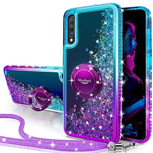 Miss Arts Funda Galaxy A70,[Silverback] Carcasa Brillante Purpurina con Soporte giratorios, Transparente Cristal Telefono Fundas Case Cover para Samsung Galaxy A70 -PÚRPURA