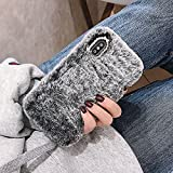 Funda para teléfono con Colgante de Amor de Lujo para iPhone 12 Pro MAX 11 X XS XR 8 7 6 6S Plus SE 2020 5S 5C 4S Fundas de Felpa de Invierno cálidas y Bonitas, Gris, para iPhone 5C
