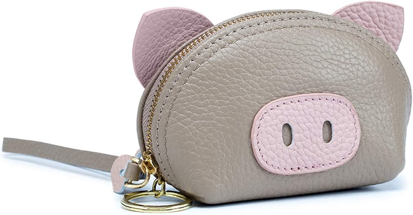 HttKse Coin Purses Wallets Charming Lovely Design Pig Shape Coin Purse Ladies Leather Change Wallet Coin Pouch Key Bag with Key Chain Money Clips Coin Pouches (Color : Gray, Size : 13x8x5.5cm)