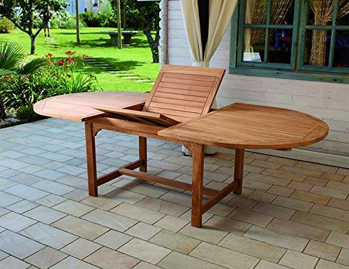 tavolo da giardino teak Gruppo Maruccia Tavolo da Giardino in Legno Teak Ovale ALLUNGABILE