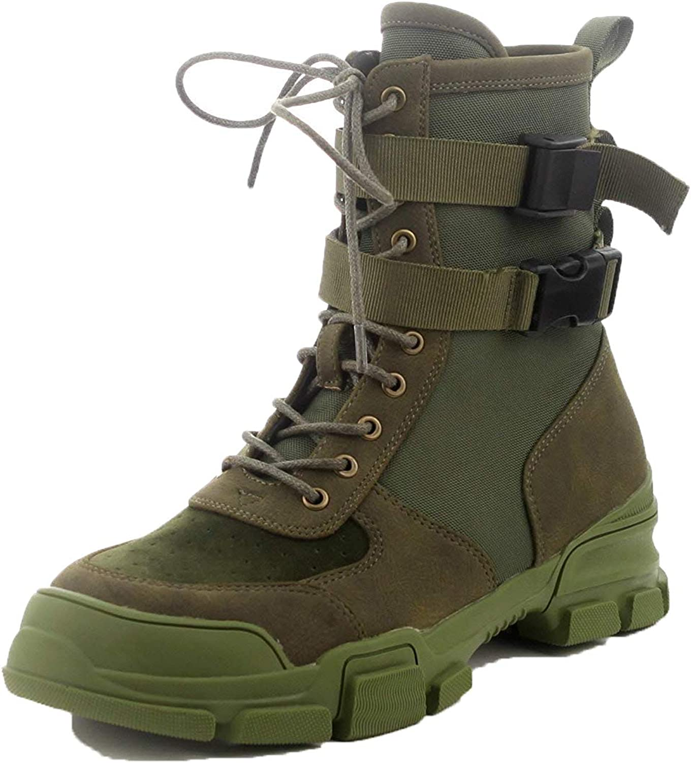 CAPE ROBBIN Utility Commander Olive Forest Green Military Tactical Buckle Strap Lug Sole Combat Boot