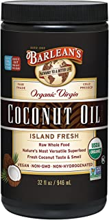 Barlean's Organic Virgin Island Fresh Coconut Oil for Healthy Immune System and Metabolism - USDA Organic, Non GMO, Vegan...