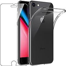 """Leathlux Cover iPhone 7 / iPhone 8 Custodia + Pellicola Protettiva in Vetro Temperato Morbido Trasparente Silicone Custodie Protettivo TPU Gel Sottile Cover per Apple iPhone 8 / iPhone 7 4.7"""""""
