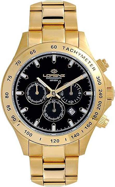 Orologio uomo lorenz 27072ff chrono acciaio gold dorato nero sub 100m 8013280104681