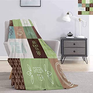 Luoiaax Tea Party Bedding Fleece Blanket Queen Size Checkered Tea Themed Images Symbols Geometrical Soft Colored Minimalist Soft Fuzzy Blanket for Couch Bed W70 x L70 Inch Green Brown Blue