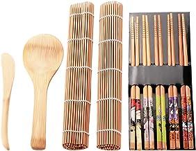 Bamboe sushi rolmat, Sushi Making Kit 13 stuks, beginners sushi mat, inclusief rolmatten - 5 paar eetstokjes - lepel