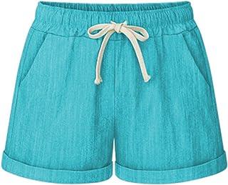 65e573d7d0 Vcansion Women s Elastic Waist Cotton Linen Beach Shorts with Drawstring  Plus Size Casual Shorts