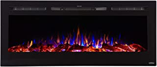 Touchstone 80004 - Sideline Electric Fireplace - 50 Inch Wide - in Wall Recessed - 5 Flame Settings - Realistic 3 Color Fl...