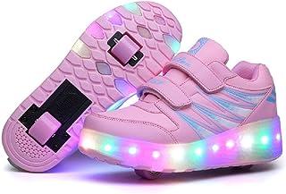 comprar comparacion No Recargable Unisex Led Luz Automática de Skate Zapatillas con Ruedas Zapatos Patines Deportes Zapatos para Niños Niñas