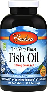 Carlson - The Very Finest Fish Oil, 700 mg Omega-3s, Norwegian, Wild-Caught Fish Oil, Sustainably Sourced Fish Oil Capsule...