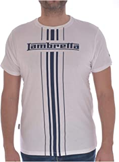 Lambretta Mens Stripe Print Logo Cotton Short Sleeve Casual T-Shirt Top Tee