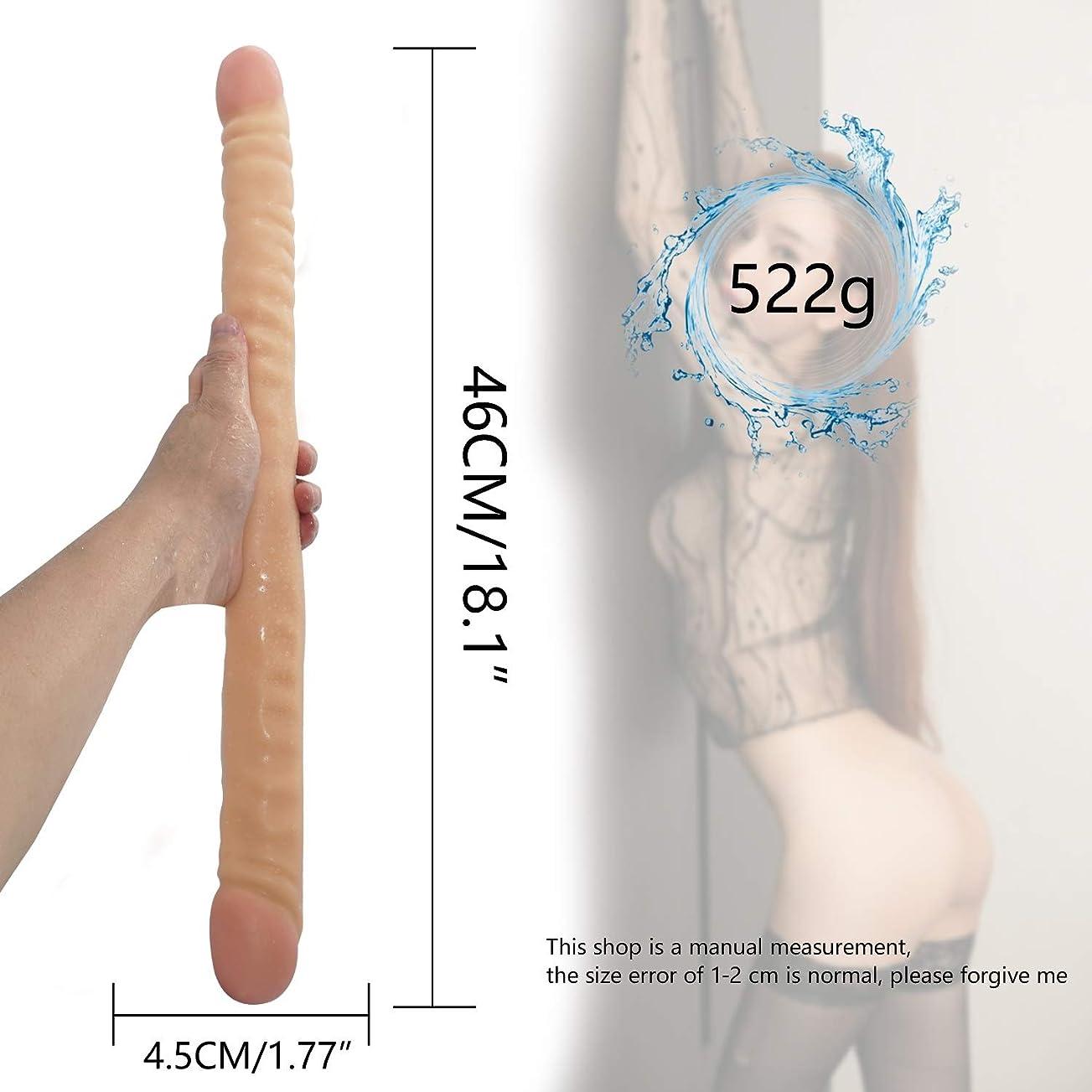 実行匹敵します残り物ペニス 18.1インチ女性用健康材料(肌)の完璧なサイズのダブルエンド頭の女性個人マッサージ杖 マッサージャー