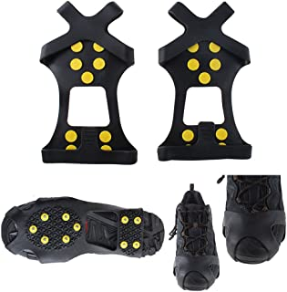Isafish 10 Steel Studs Ice Cleats Ice & Snow Grips Over Shoe/Boot Traction Cleat Rubber Spikes Anti Easy Slip On S