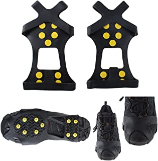 10 Steel Studs Ice Cleats Ice & Snow Grips Over Shoe/Boot Traction Cleat Rubber Spikes Anti Easy Slip On S