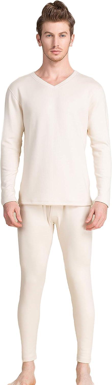 CLC Men's Tussah Silk Knitted Thermal Underwear Pajama Set