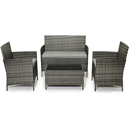 EVRE Rattan Garden Furniture Set Patio Conservatory Indoor Outdoor 4 piece set table chair sofa (Grey)