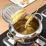 Tempura, padella per friggitrice in acciaio inossidabile con controllo della temperatura e colino per olio, utensili da cucina multifunzione per pollo fritto, pesce secchi, Tempura, ecc.
