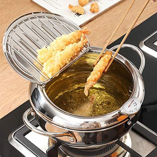 Tempura Bratpfanne, Fritteuse aus Edelstahl, mit Temperaturkontrolle und Ölsieb, multifunktionale Küchenwerkzeuge für Huhn, Frittierfisch, Tempura etc.