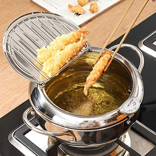 Tempura Deep Fryer Pot, Mini Fry Pan Kitchen Home Cooking Chip Pan w/Inclined Surface Clamshell Lid & Removable Oil Filter Rack, Stainless Steel