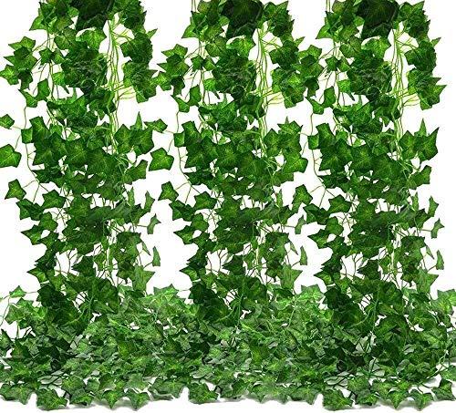 KTZAJO 2021 The Laest planta artificial, hiedra artificial, 24 piezas de plantas trepadoras artificiales guirnalda de hojas de seto, decoración de jardín al aire libre, decoración de Navidad