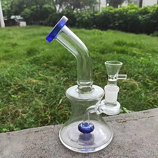 WYGLASS Handicraft 7.8 inch Tall Thinck Special-Shaped Glass Art Bottle Blue