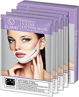 ELAIMEI V mask double chin reducer lifting and slimming masks, Chin up Contour Lifting Firming Moisturizing Mask All Nigh...