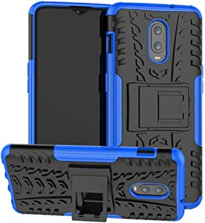OnePlus 6T Case, Yiakeng Dual Layer Shockproof Wallet Slim Protective with Kickstand Hard Phone Cases Cover for OnePlus 6T (Blue)