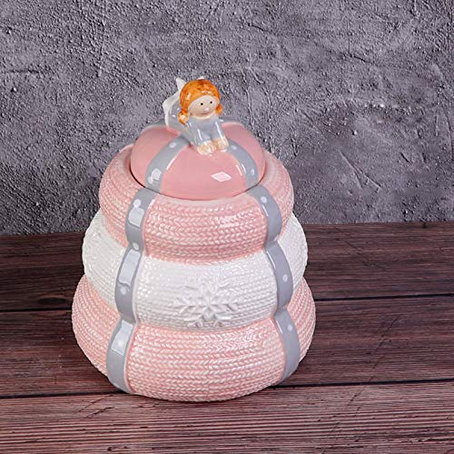WXXW Sealed Ceramics Ashes Urn Altar Pink Pets Cremation Urn with Angle or Bowknot, Moisture proof Dogs Cats Urns for Ashes with Rubber Ring Good Sealing