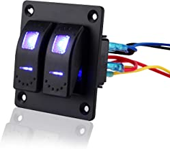 Jiaying Rocker Switch Aluminum Panel 12V 24V 2 Gang Toggle Switches Dash 5 Pin On Off Toggle Switch with Blue Backlit LED for Car Truck Boat Marine