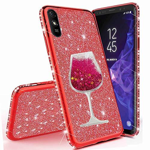 Miagon für Xiaomi Redmi 9A Hülle Glitzer,Lustig Flüssig Sand Wein Tasse Muster Glänzend Weich Silikon Strass Diamant Überzug Handyhülle Schutzhülle Etui Cover
