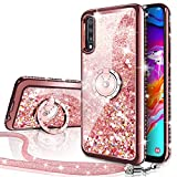 Galaxy A70 Case, Silverback Moving Liquid Holographic Sparkle Glitter Case with Kickstand, Bling Diamond Rhinestone Bumper W/Ring Slim Protective Samsung Galaxy A70 Case for Girls Women -Rose Gold